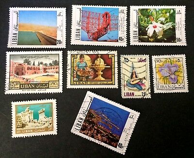 Lebanon 8 old used stamps