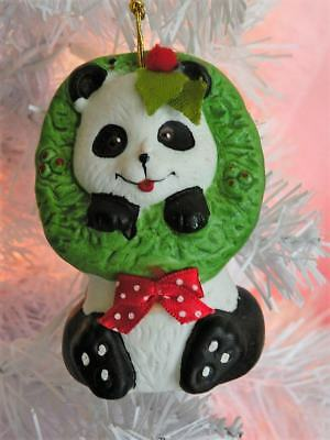 VTG 1986 Giftco Holly Bells Panda Hand Painted Porcelain Bell Ornament