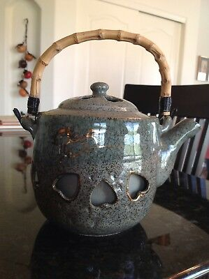 Soma Yaki Soma Ware Japanese Pottery Large Tea Pot With Lid & Bamboo Handle