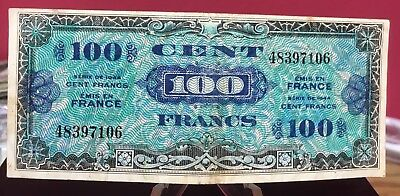 1944 France 100 Francs Note Allied Military Currency Circulated Bin Free Shippin