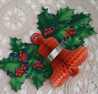 Vintage Christmas paper honeycomb holly and bell decoration