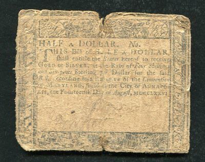 Md-94 August 14, 1776 $1/2 One Half Dollar Maryland Colonial Currency Note