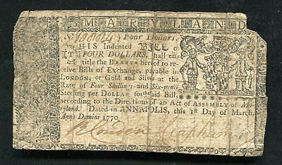 Md-57 March 1, 1770 $4 Four Dollars Maryland Colonial Currency Note