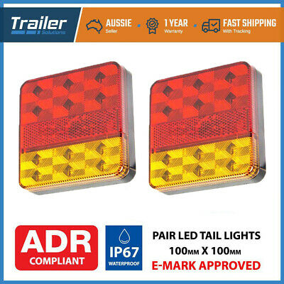 2X 12 Led Trailer Lights Light Square Tail Stop Indicator Truck Lamp Kit 12V