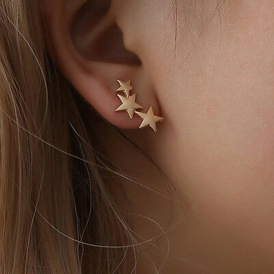 Charming Three Stars Continuous Climber Earrings Not Piercing Favor Gift N7