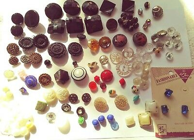 Antique & Vintage Glass Button Lot- Black,Blue,Green,Red,Amber, Rooster 124 CT.