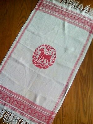 "Antique 39"" Linen Fringed Display Towel ~ Red Design - Dog"