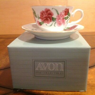 Avon January Carnation Tea Cup and Saucer Blossoms of the Month Series 1991