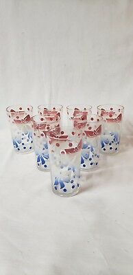 Vintage Lot of 7 Polka Dot & Bows Swanky Swigs Drinking Glasses Tumblers