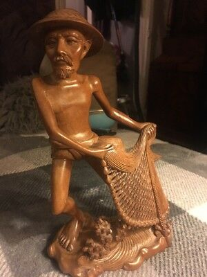 Vintage Japanese Chinese Oriental Fisherman Rose Wood Carving Treen 10 Ins Tall