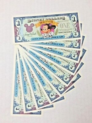 Disney Dollar Mickey Mouse 1991 series A 10 consecutive 960A to 969A crisp mint