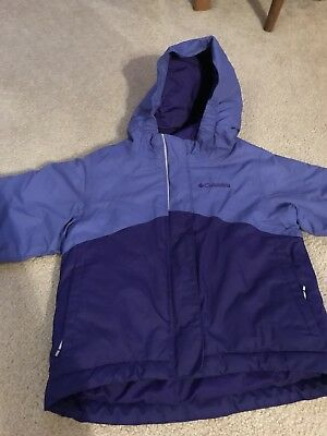 COLUMBIA Girls 3T Blue Outgrown System Omni-Heat Winter Coat Hooded