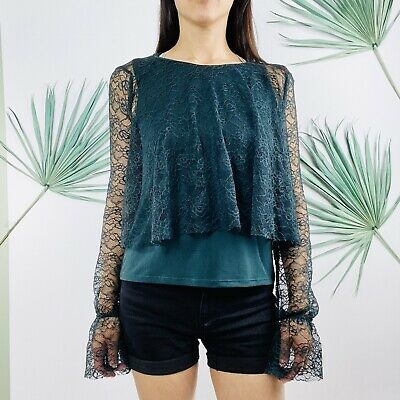 c810506a332 ZARA LINED LACE Bottle Green Blouse Long Sleeve Flounce New (TR$39 ...