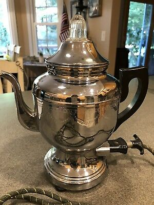 Vntg 1940s Farberware 6-Cup Chrome Percolator Coffee Pot No.206 Bakelite Handle