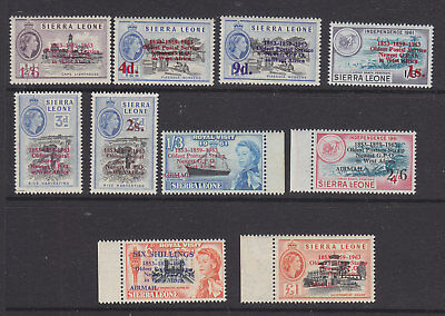 Siera Leone 1963 set + airmail overprints incl £1  MNH, some toning