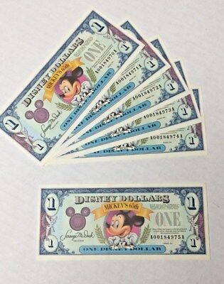 Disney Dollar Mickey Mouse 1991 series A 5 consecutive 970A to 975A plus 1 free$
