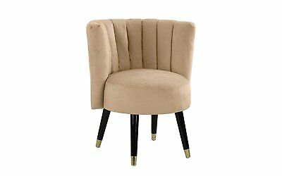 Classic Velvet Living Room Chair Small Round Accent Chair, Wooden Legs, Hazelnut