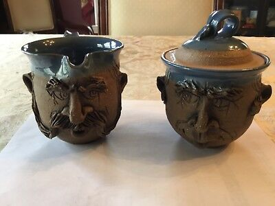 Set of David L. Davis Man Face Stoneware Art Pottery Cream & Sugar  -Marked DLD