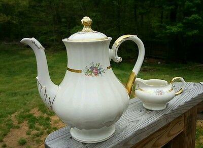 VTG K & A Krautheim Selb Bavaria Germany Gold Trim Floral Coffee Tea pot Roses