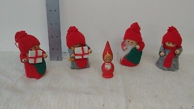Vintage Jul Tomte / Swedish Chritmas Gnome set of five figures