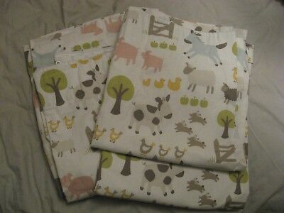 John Lewis farmyard childrens nursery curtains with blackout linings