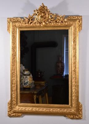Antique French Louis XV Rococo Style Ornate Gilt Gesso and Wood Mirror