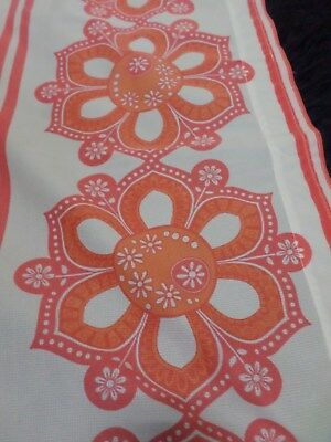 Retro Vintage Red Orange And White Light Floral Synthetic Cafe Curtain..