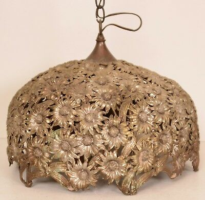 Antique Brass Toned Steel Floral Flowers Pendant Light Hanging Shade Victorian