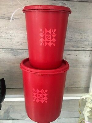 Vintage Tupperware Red Quilt Canister Set of 2 Containers w/Lids