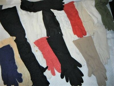lot of 16 PAIRS VINTAGE LADY'S GLOVES VARIOUS STYLES AND FABRICS FORMAL EVENING
