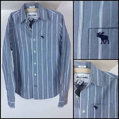 Abercrombie Muscle Boys Grey Stripy Long Sleeve Shirt Size M 12 Y