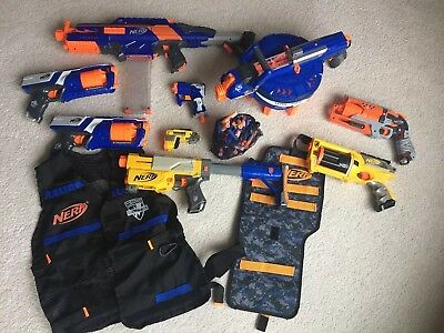 Lot of 8 Nerf Guns & Accessories