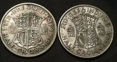Lot of 2 Great Britain HALF CROWN Silver Coins ☆ 1928 & 1943 ☆ SEE PICS ☆