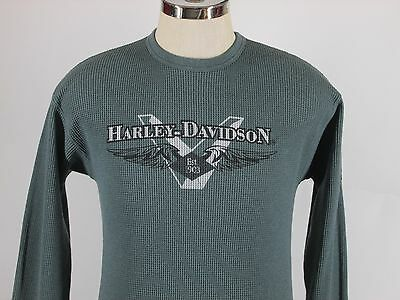 HARLEY DAVIDSON Longsleeve T Shirt Thermal 50/50 Mass Blue Size Medium