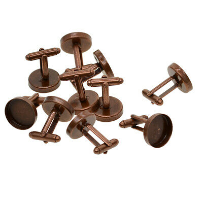 10pcs Red Copper 16mm Round Blank Cuff Links Tray Base DIY Jewelry Findings