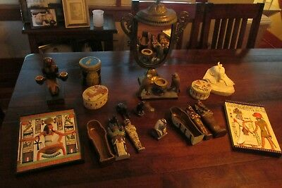 Lot of Egyptian decor some Design Toscano resin wall plaques trinket box mummy