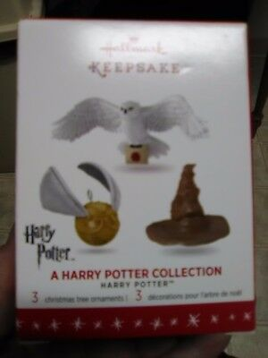 Hallmark 2016 A HARRY POTTER COLLECTION Miniature Christmas Ornament Set Owl Hat