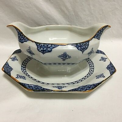 WOODS & Sons,Woods Ware, England, BLUE BOMBAY, Gravy Boat