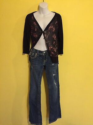 2 Pc Outfit: Sz: 26x 34 Miss Me - Signature Boot Jeans & Maurice's Cardigan
