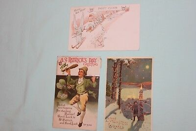 Antique 1912 Postcards , Christmas, Happy New Year & St. Patrick Day