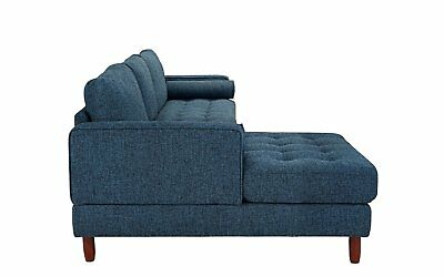 Mid-Century Modern Tufted Fabric Sectional Sofa, L-Shape Couch with Extra...