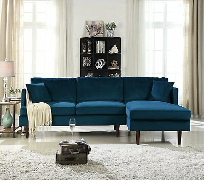 Mid-Century Modern Brush Microfiber Sectional Sofa, L-Shape Couch with Extra...