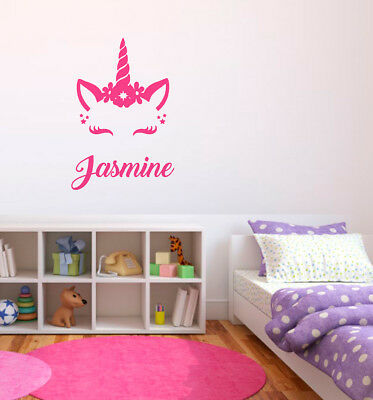 Personalised Name Unicorn Wall Art Girls Room Childrens Kids Sticker Vinyl