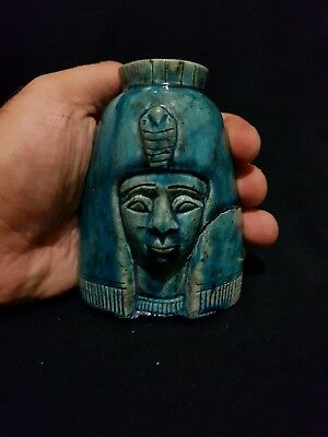 RARE ANCIENT EGYPTIAN Antique Pharaonic Queen Faience Blue Glazed EGYPT BC