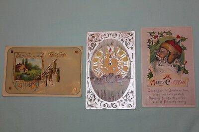 1911 and 1913 Antique Postcard , Christmas, New Year, Easter