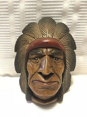 Beautiful Carved Wood Native American Chief Figurine/ Wall Hanging