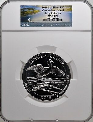 2018 5oz SILVER 25C Cumberland Island NGC MS 69 PL Early Releases must see!