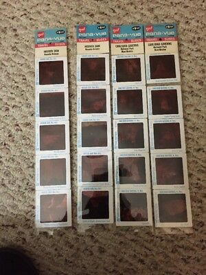 VINTAGE GAF PANA-VUE Travel Slides Hoover Dam, Carlsbad Caverns Set Of 4
