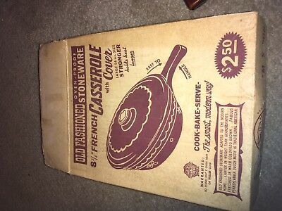 Vintage nib marcrest 8 3/4 French casserole with cover mar-crest stoneware + xtr