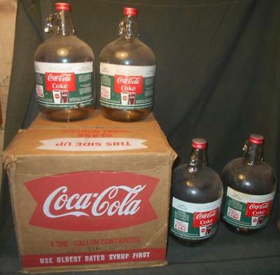 Vintage 1960s (4) Coca-Cola 1 Gallon Glass Syrup Jugs w/ Original Box (Bottles)